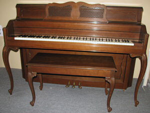 Evererett Console Piano in a W/ Matching Bench
